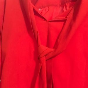 JUICY COUTURE Lipstick Red Neck Tie Blouse SM